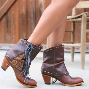 Women's fashion solid color studded tassel short boots