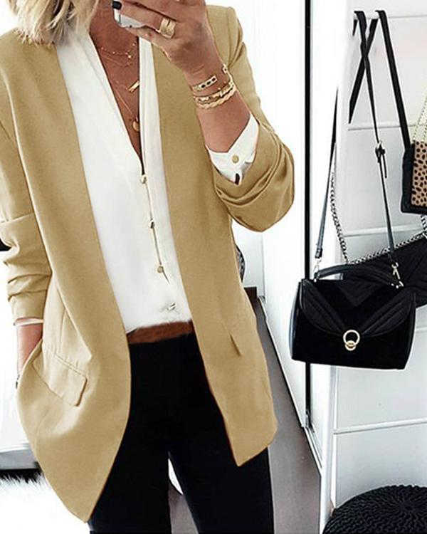 Long Sleeve Lapel Pockets Blazers Coats