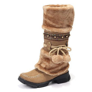 Women Winter Rhinestone Slip On Mid Calf Warm Knight Boots