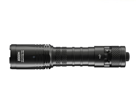Ribbed body tube with USB-C port on the rear tactical switch of the Nitecore i4000R