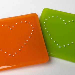 Colourful handmade glass table coasters in a variety of styles and colours