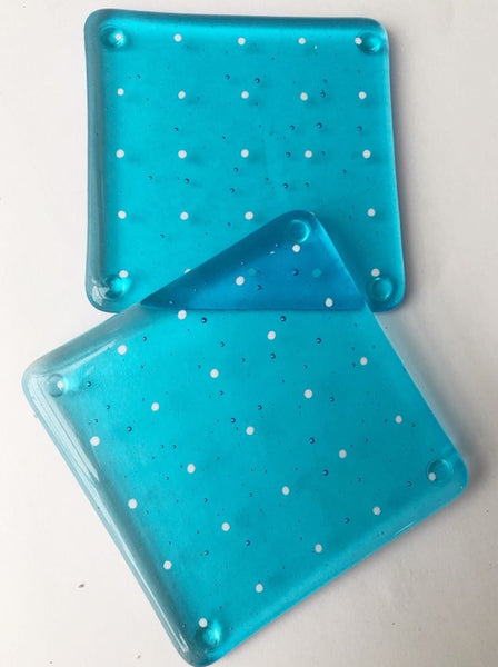 Turquoise Spotty Coaster Set