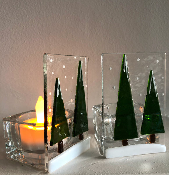 Snowy Forest Candle Holder