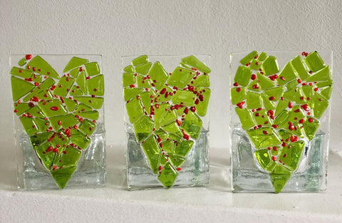 Festive Heart Mosaic Candle Holder