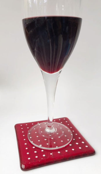 Deep Red Spotty Coaster