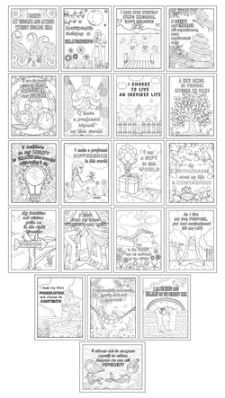 Set of 20 Positive Affirmation Coloring Pages