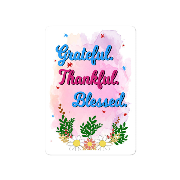Grateful Thankful Blessed Bubble-free stickers