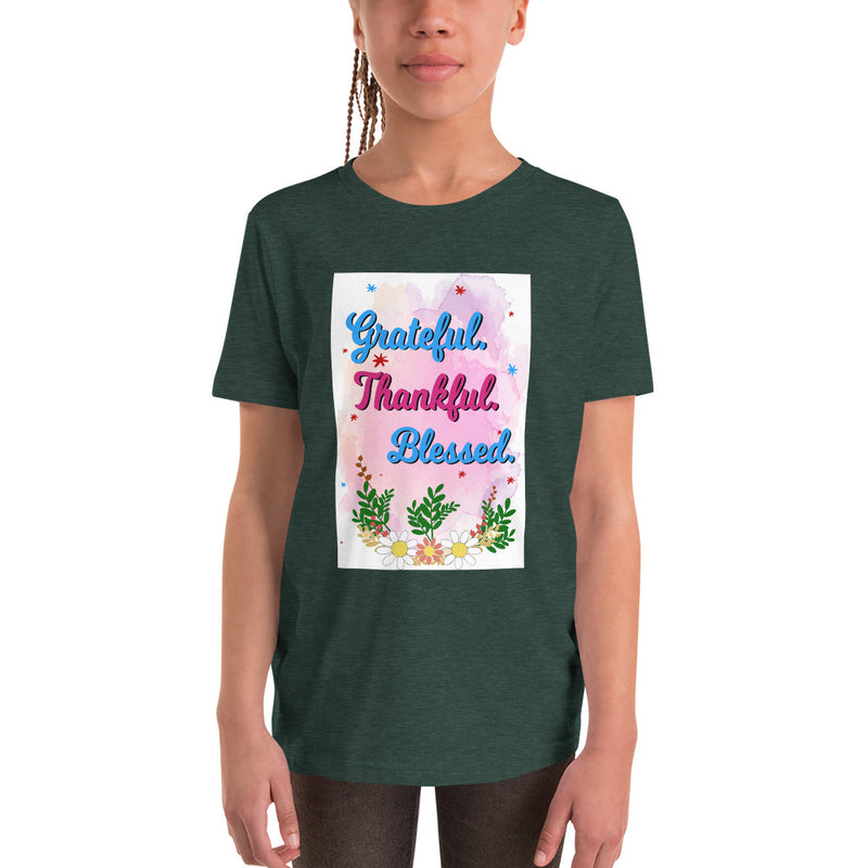 Grateful Thankful Blessed Youth Short Sleeve T-Shirt