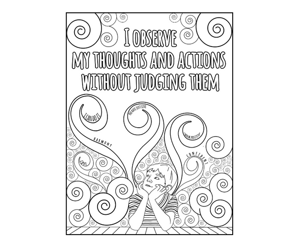 Set of 5 Positive Affirmation Pages To Color