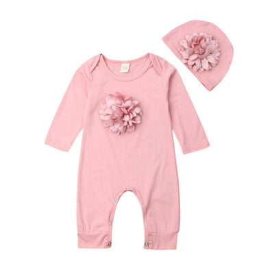Baby Girl Blooming Flower  Jumpsuit and  Hat