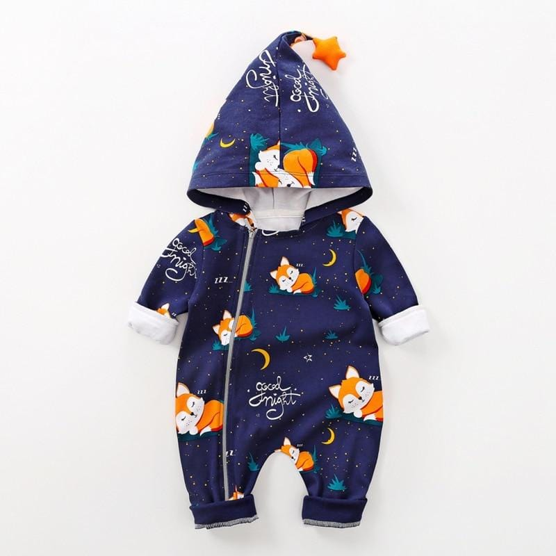 FOXIE - AWARDED DESIGN JUMPSUIT BOTH -Baby Boy / Girl Lovely Fox Print Jumpsuit