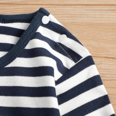 Lovely Striped Penguin Print Long-sleeve Jumpsuit and Hat Set in Dark Blue for Baby Boy(loose shape)