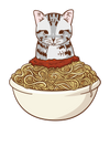 Cat in Spaghetti Bowl T-Shirt