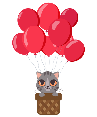 Balloon Ride Cat T-Shirt