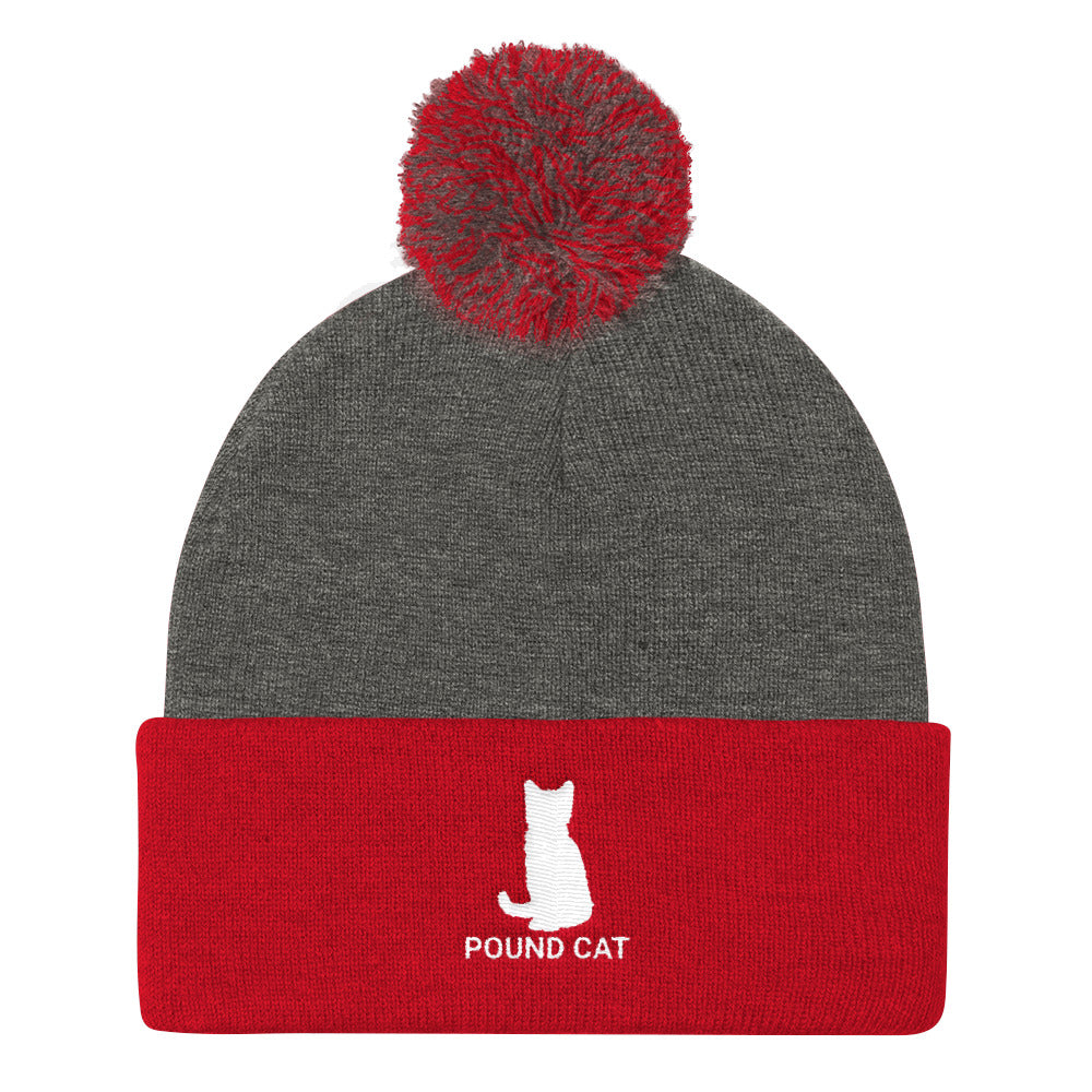 Pound Cat Pom Pom Knit Cap