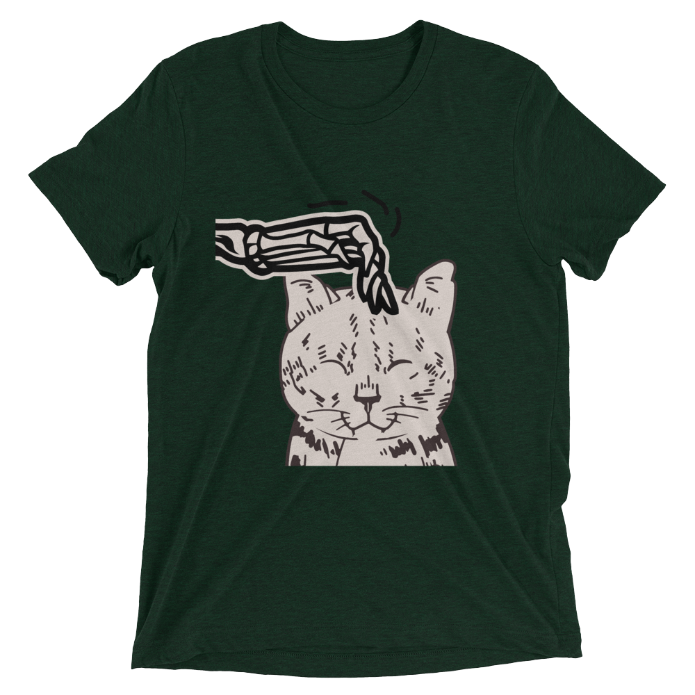 Skeleton Scratching Cat Head T-Shirt