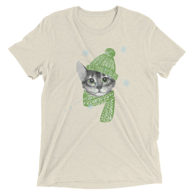 Cat Playing In Snow T-Shirt