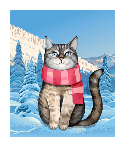 Christmas Cat In The Snow T-Shirt