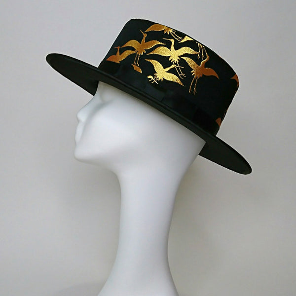 Stylish Hats in Black, Gold Crane Patten/ Fashion Japan KEIKO TAGAI