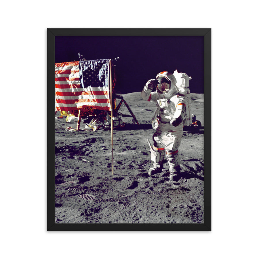 Neil Armstrong Saluting American Flag - Framed Print