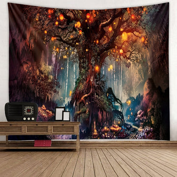 Forest Fireflies Tapestry