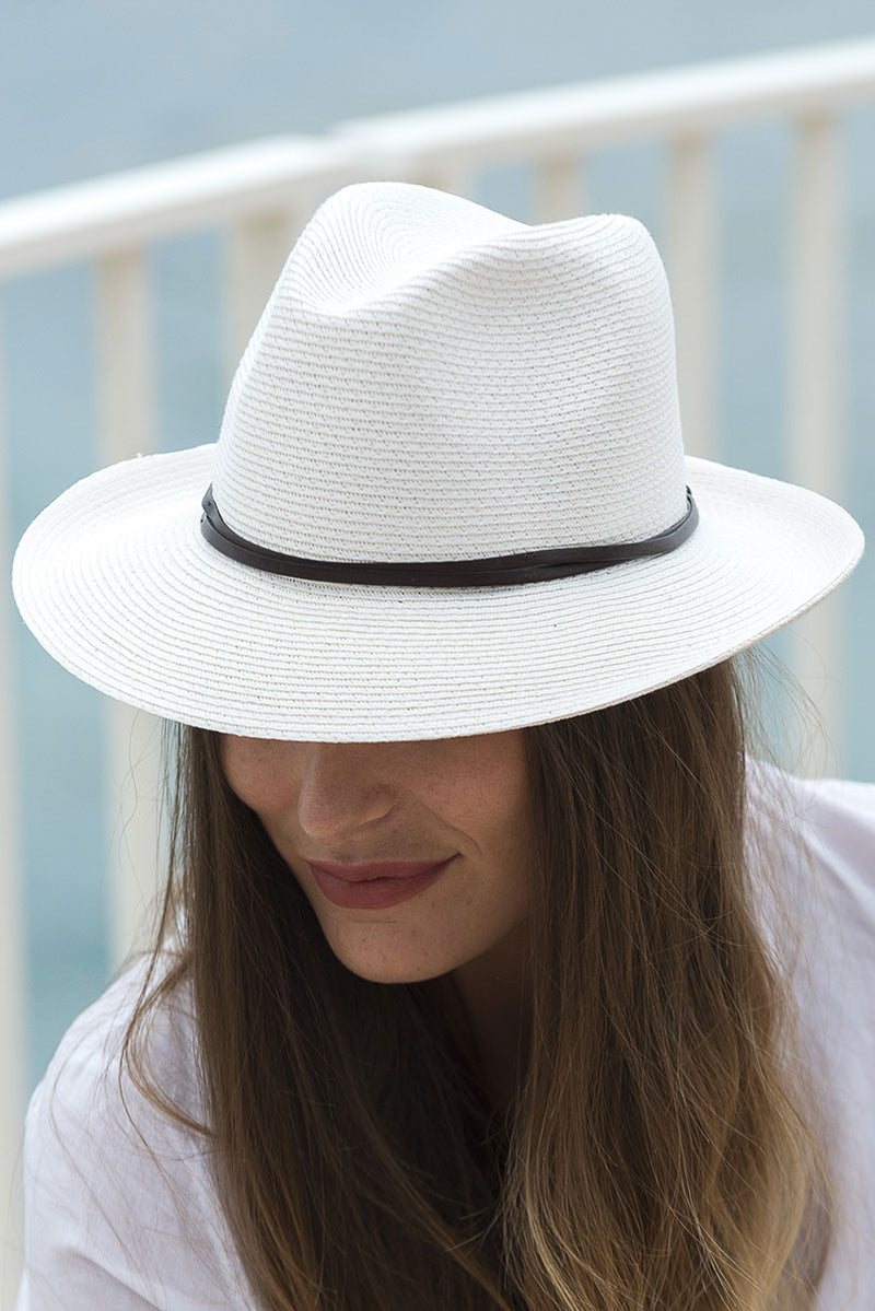 Foldable Borsolino Hat, White