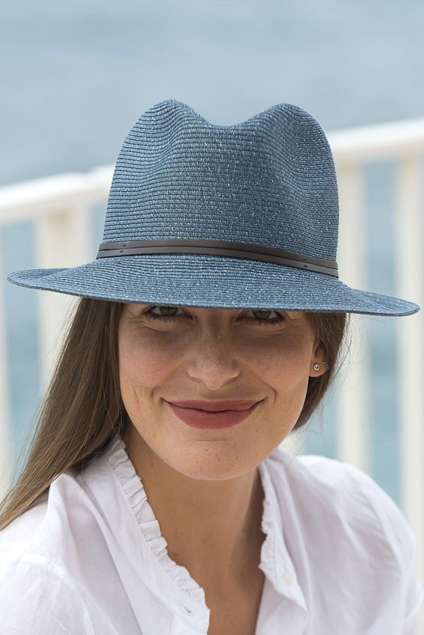 Foldable Borsolino Hat, Denim