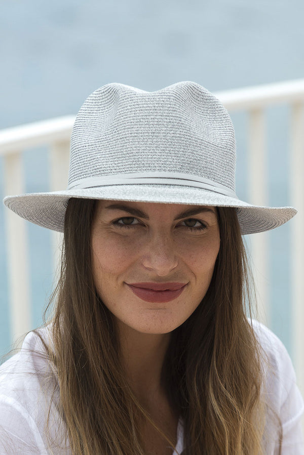 Foldable Borsolino Hat, Light Grey