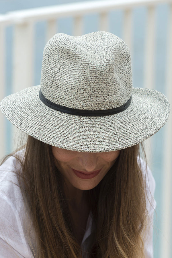 Foldable Borsolino Hat, Black/White