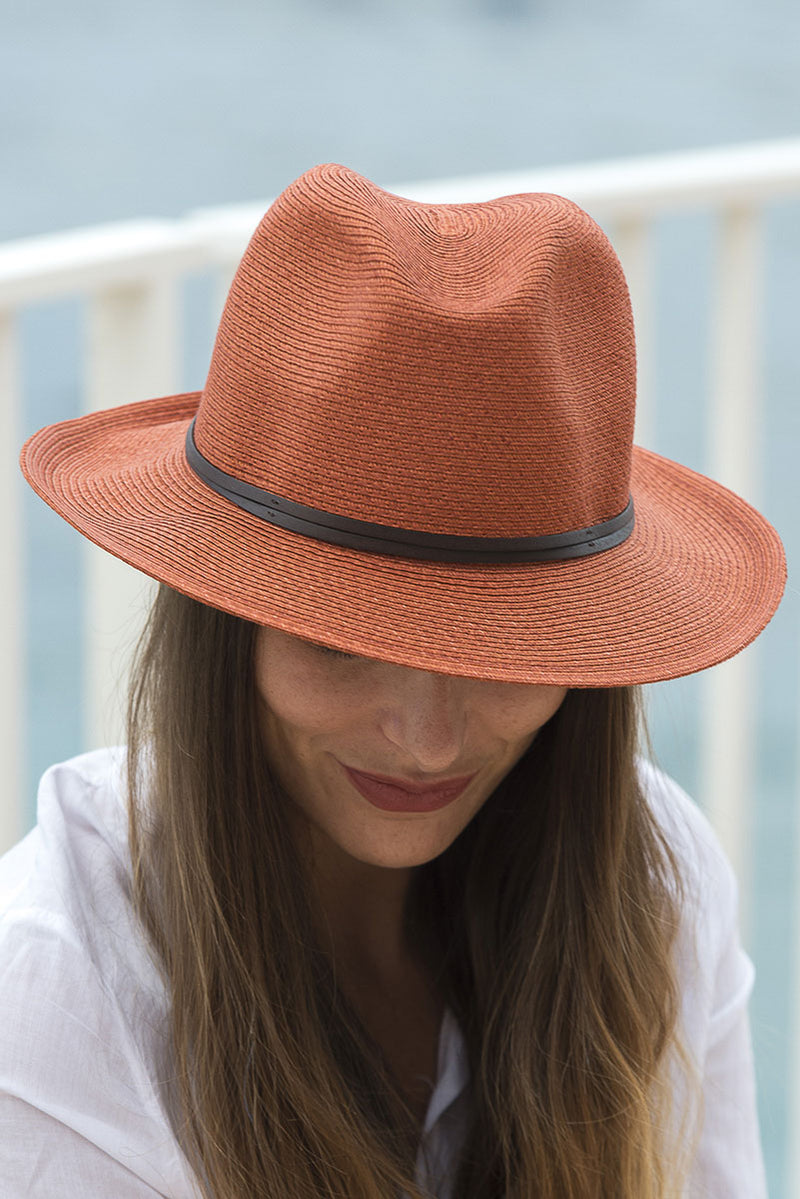 Foldable Borsolino Hat, Rust