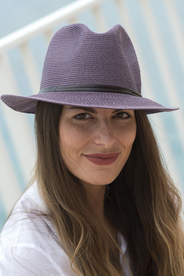 Foldable Borsolino Hat, Purple