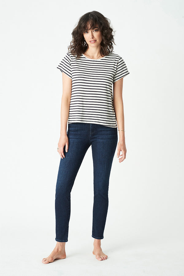 Alfie Stripe Tee, Navy/White