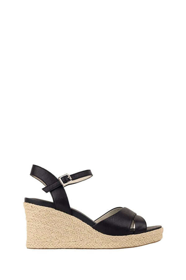 Alyce Wedge Espadrille Sandals, Black