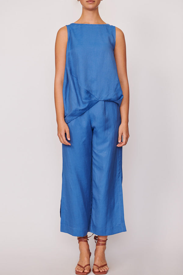 Anke Side Split Pant, Blue