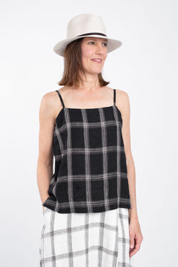 Cache Cami Top, Black Check