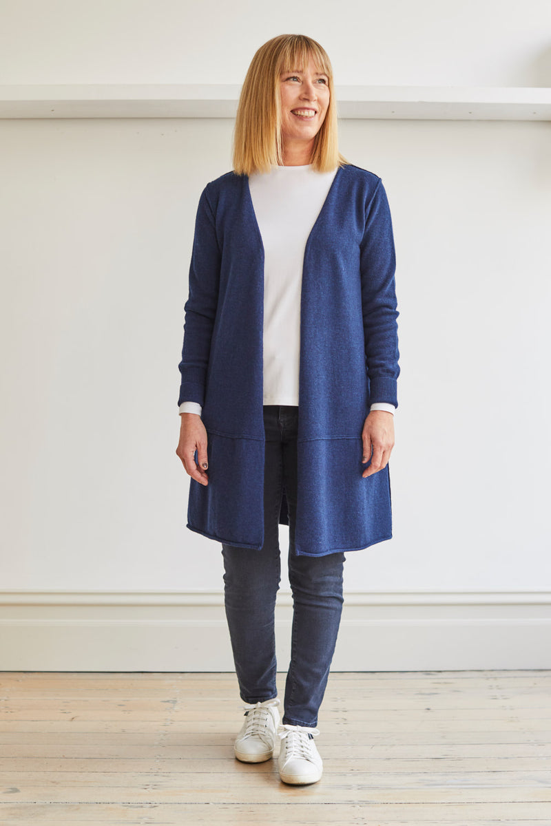 Longline Cardi with Pockets, Navy