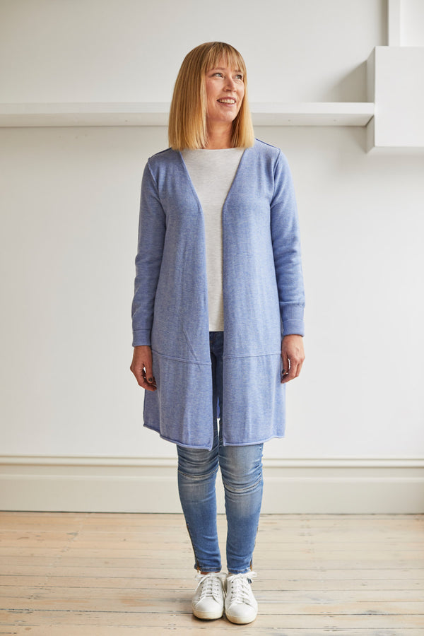 Longline Cardi with Pockets, Sky Blue