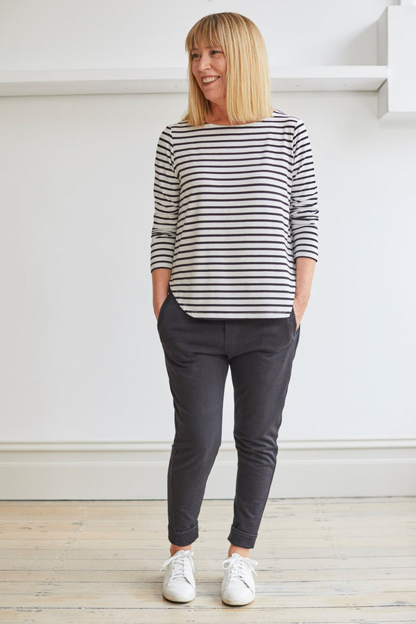 Adele Bamboo Boatneck, Grey/Black Stripe