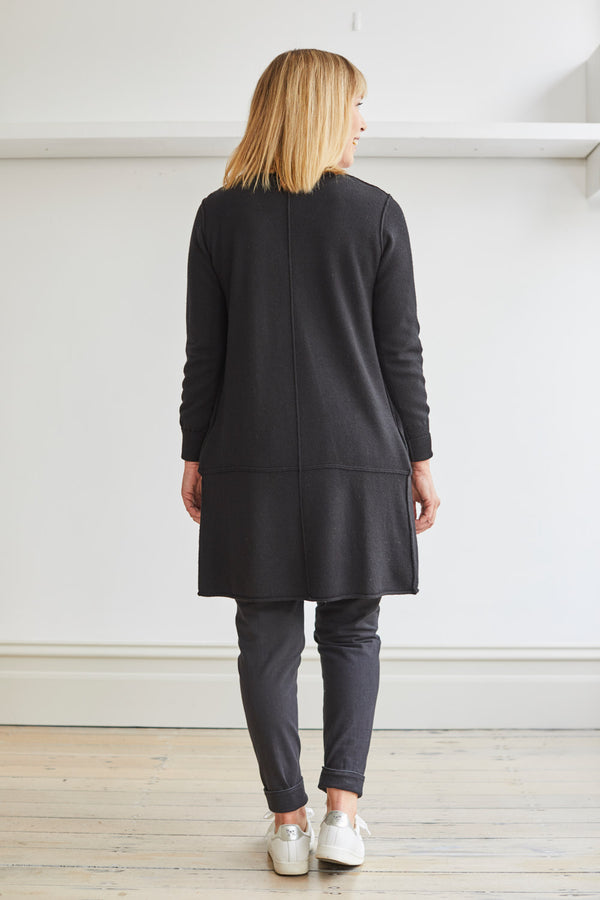 Longline Cardi with Pockets, Black