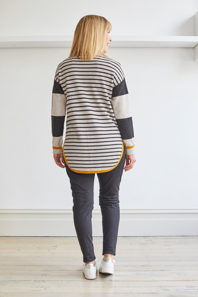 Stripe Curved Hem Sweater, Soft Mist/Charcoal