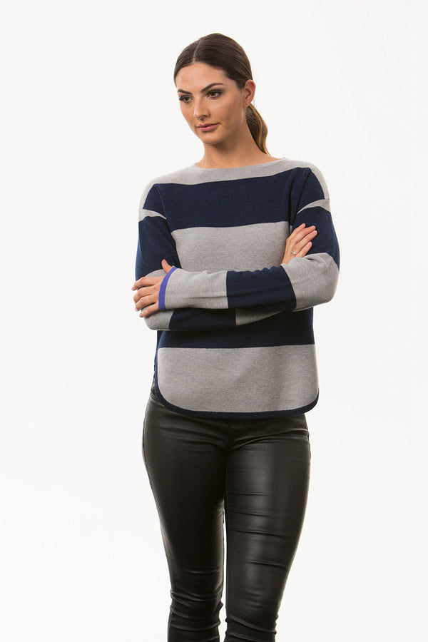 Stripe Curved Hem Sweater, Grey/Navy