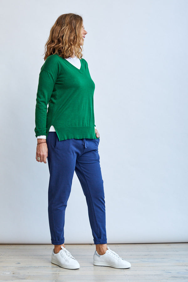 Vee Neck Sweater, Green