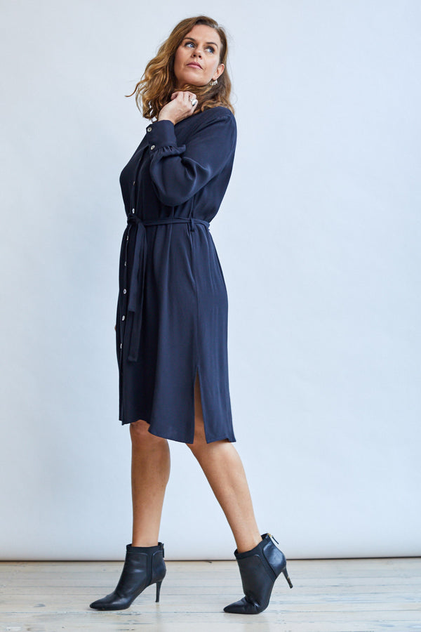 Mandarin Shirt Dress, Midnight