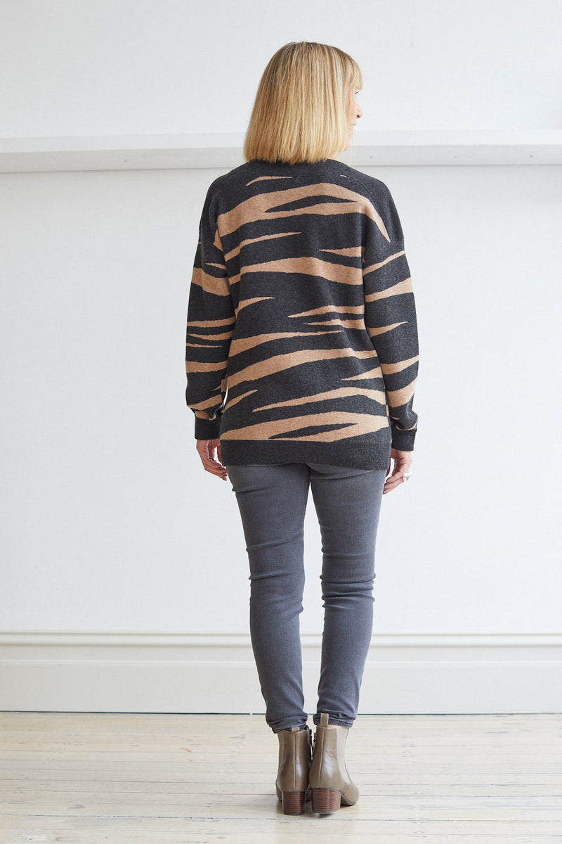 Zebra Sweater, Charcoal
