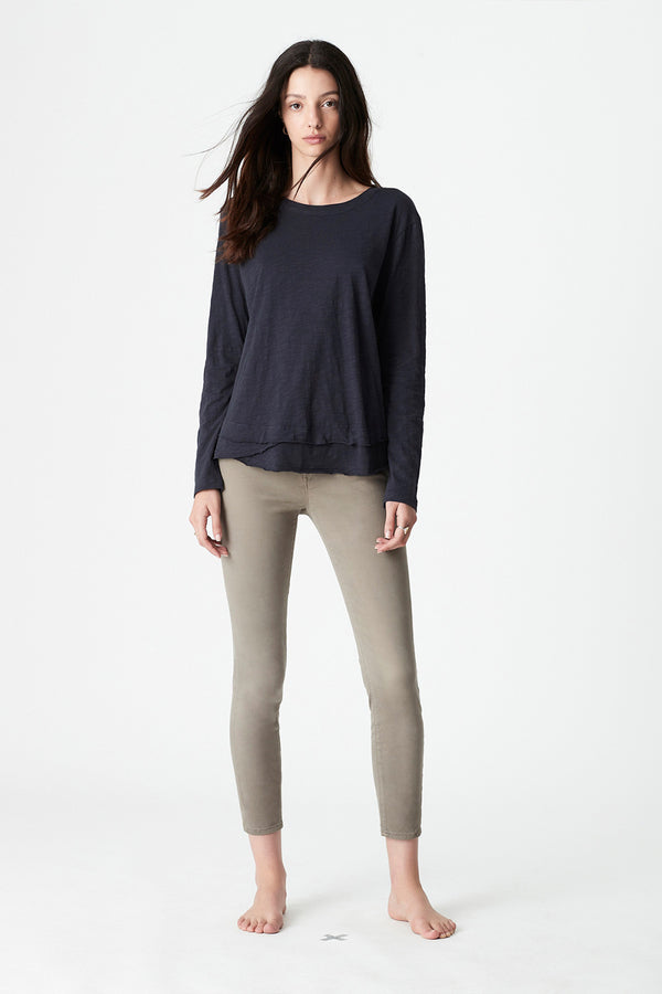 Annalie Long Sleeve Slub Tee, Midnight