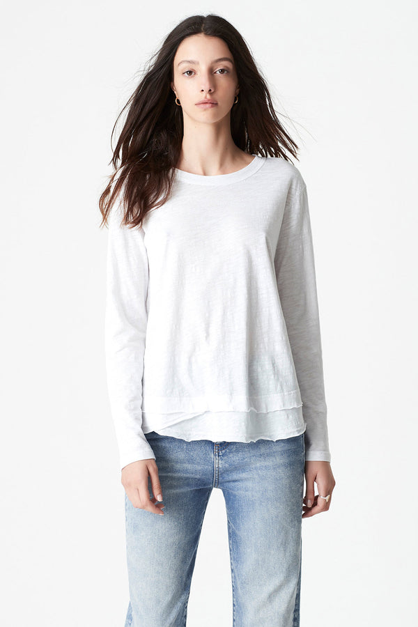 Annalie Long Sleeve Slub Tee, White