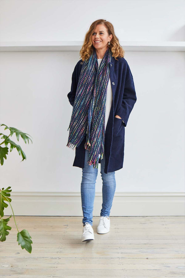 Multi Colour scarf, Navy