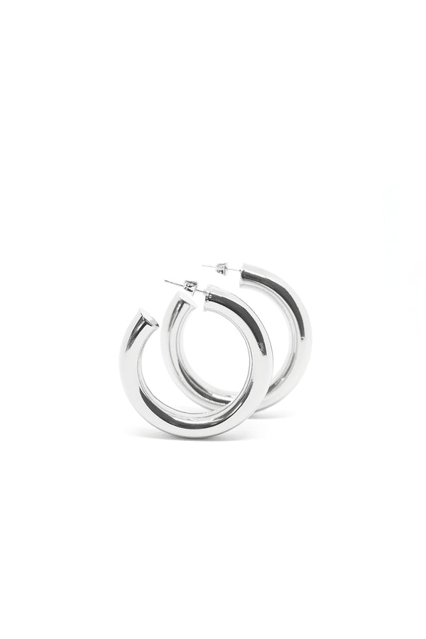Cicciolina Hoop Earrings, Polished Silver