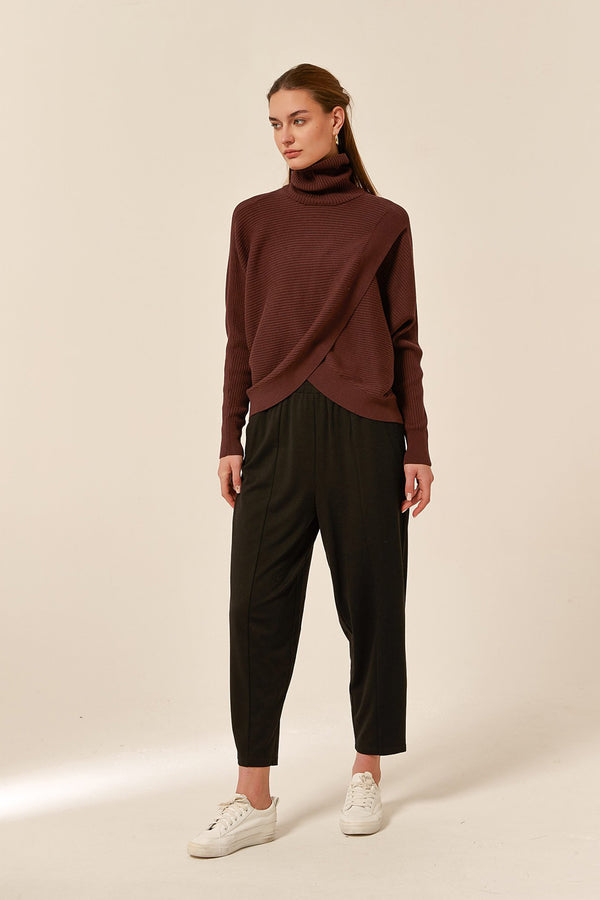 Cross Front Turtle Neck Sweater