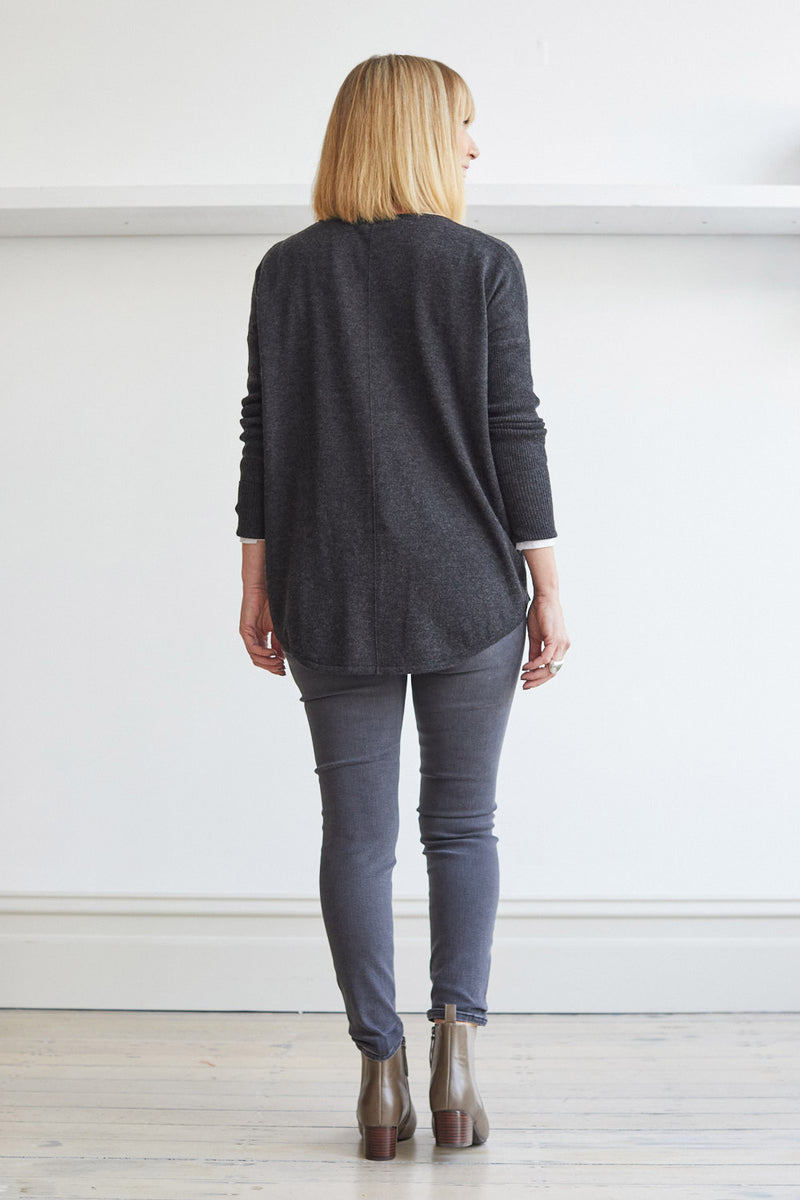 Curved Hem Crew Neck Sweater, Charcoal